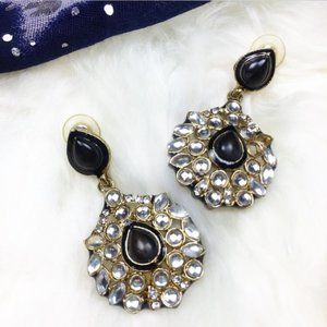 Black and Gold Round Statement Earrings